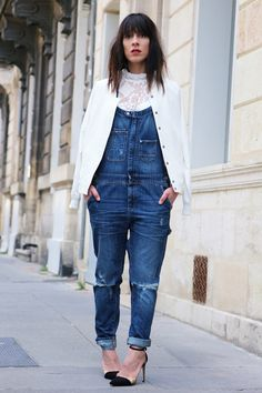 #jumpsuit #denim #looks #ootd #salopette #jean #white #blanc #fashionbloggers #blogmode #lookbook