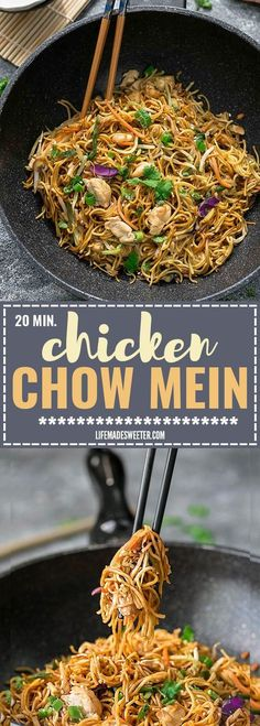 Chicken Chow Mein is the perfect easy weeknight meal! Best of all, it comes together in under 20 minutes in just one pot! Forget calling restaurant takeout, this recipe is so much better with authentic flavors. Seriously the best!! Weekly meal prep for the week and leftovers are great for lunch bowls for work or school.