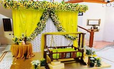 Amazing cradle ceremony decoration ideas for all your events. images for cradle decoration for naming ceremony from Quotemykaam catalogue. Naming Ceremony Decoration, Wedding Stage Decorations, Baby Shower Decorations For Boys, Backdrop Decorations, Flower Decorations, Backdrops, Cradle Decoration, Indian Baby Showers, Cradle Ceremony