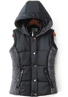 Navy Blue Patchwork Hooded Vest