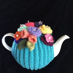 Hand Knitted Tea Cosy, Tea cosies, Tea Cozy cup) by RicketyGates on Etsy Knitted Tea Cosies, Tea Cozy, Aqua Color, Yarn Crafts, Cosy, Floral Arrangements, Hand Knitting, Cozies, Glass Beads