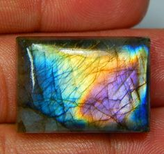 41 CT HUGE NATURAL MULTI PURPLE FIRE LABRADORITE OCTAGON CABOCHON GEMSTONE 3E64 #treasuregems14
