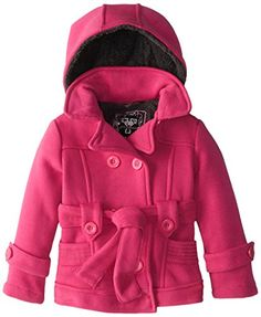 fa6e92ef6711 YMI Little Girls Toddler Double Breasted Fleece Machine Wash Jacket with  Belt and Hood