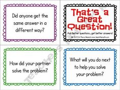{Math higher level thinking questions freebie from teacher notebook seller Teach-the-math} Math Teacher, Math Classroom, Teaching Math, Teacher Notebook, Classroom Ideas, Teaching Ideas, Reciprocal Teaching, Classroom Procedures, Kindergarten Math