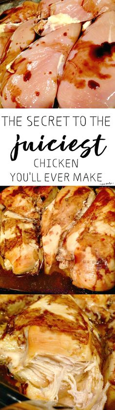 The Secret to the Juiciest Chicken You'll Ever Make - Shhh! _ It's not a recipe at all - it's science. And SO SIMPLE. And results in the juiciest chicken breasts. Yummy Recipes, Meat Recipes, Chicken Recipes, Dinner Recipes, Cooking Recipes, Yummy Food, Healthy Recipes, Recipies, Tasty