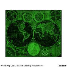 World Map (1794) Black & Green Poster