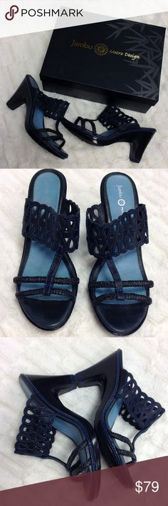 """JAMBU """"Luxe"""" Sandal G 💙💙 These Jambu sandals are gorgeous! They are black leather cutout straps with bright blue stitching trim throughout! Toe straps are black braided leather. """"Trail-rated soles"""" with the heel measuring 4"""" tall! ***GORGEOUS condition, includes new box! Has very minor wear on soles! Jambu Shoes Sandals"""