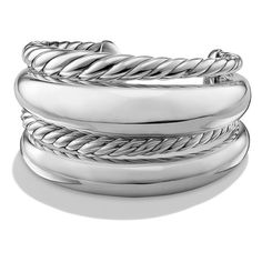 Women's David Yurman 'Pure Form' Four-Row Sterling Silver Cuff (5.700 BRL) ❤ liked on Polyvore featuring jewelry, bracelets, silver, david yurman, sterling silver jewellery, sterling silver jewelry, david yurman bangle and cuff bangle