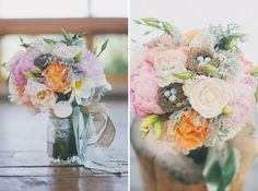 bouquets with tiny nests! // green wedding shoes / Whimsical Colorado Ranch Wedding: Lauren + Nate