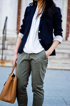 Navy and Khaki (+ Vince Camuto Wrap Front Blouse)