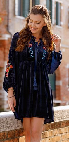 Resplendent Boho Embroidered Velvet Dress in Navy Trendy Dresses, Trendy Outfits, Winter Outfits, Cute Outfits, Dresses For Work, Fashion Outfits, Womens Fashion, Crazy Outfits, Minimal Fashion