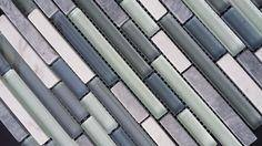 White Carrara plus Gris Romano Stone mixed Glass Tile Kitchen Backsplash (Z15)