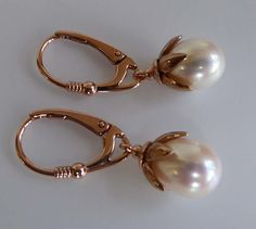 White freshwater cultured pearl lever back rose gold earrings by TheresaHingJewellery on Etsy