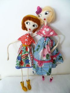 Miss Florence Cream Puff Cloth Art Doll by Rebekah of forgottenstitches on Etsy