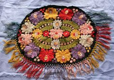 Hungarian silk Matyo embroidery  rich vibrant acid by BabaVintage, $62.00