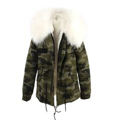 Camouflage parka jacket with white fur hood and faux fur lining. #slayaccessories #camouflage #jacket #parka #furparka #camouflagejacket #furhood #outerwear #fashion #stylish #AW16 #whitefur