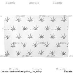 Cannabis Leaf on White Kitchen Towels