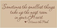 Sometimes the smallest things take up the most room in your heart....   Winnie the Pooh
