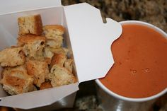 la Madeleine Tomato Basil Soupe and homemade croutons.  Oh. My.