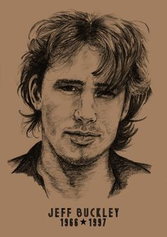 Jeff Buckley: A3 -Print - Hand Drawn Portrait signed by Artist - (Black on Sepia Card or Sepia on Cartridge Paper) #CommissionedArt #Art #HandDrawnPortrait #BillTaylorBeales #JeffBuckley #PencilPortrait #icons #Portrait #Portrait #Drawn