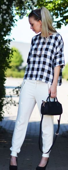 Checkered Blouse Styling