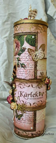 A Pringles can transformed into a decorative vintage container ~ no instructions... just visual inspiration /  Rosens pysselvrå