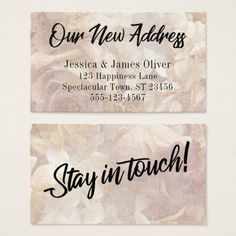 Romantic Vintage Floral New Address Insert Card - calligraphy gifts custom personalize diy create your own