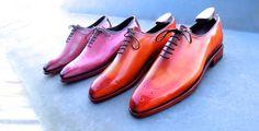 Sakura pink patina and orange patina on Diamond Walker bespoke wholecut shoes!  #wholecut #diamondwalkershoes #patina #landrylacour