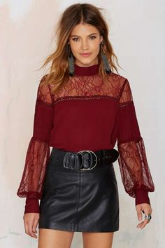 Nasty Gal Lace to the Finish Blouse - Red | Shop Clothes at Nasty Gal!