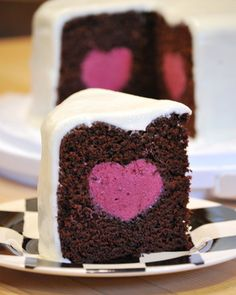 Deep Chocolate Cake with a Raspberry Mousse Heart FoodBlogs.com