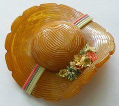 Bakelite Bonnet Hat Brooch