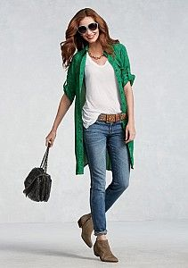love the emerald shirt dress as a topper....CAbi Spring '13...Day to Night - Day 01
