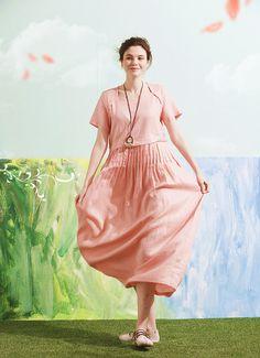 maxi linen dress in pink long linen dress pink by camelliatune