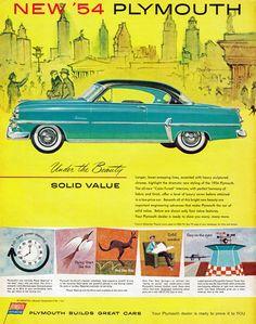 Plymouth, 1954; Vintage car ad.