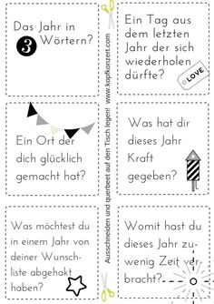 Silvester-Partyspiel, Tischdeko, Silvester & Freunde, Fragen für Silvester My favorite New Year's Eve party game, just cut out questions and put them on the table. Party Table Decorations, Decoration Table, Table Party, Questions For Friends, This Or That Questions, Diy Silvester, New Years Eve Quotes, New Years Eve Makeup, Diy Crafts To Do