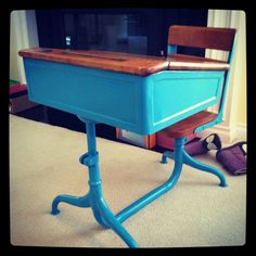 spray painted vintage school desk