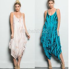 Tie dye dress jumpsuit romper harem boho chic new ❌PLEASE DON'T BUY THIS LISTING, COMMENT ON SIZE NEEDED FOR SEPARATE LISTING. PRICE IS FIRM UNLESS BUNDLED ❌.  New retails.Harem tie dye jumpsuit dress. Spaghetti straps.oversized loose fit dress..Very comfy and super sexy. Fabric content 95% Rayon and 5% spandex ...Only blue jade /black..Small medium and large. BOUTIQUE Pants Jumpsuits & Rompers