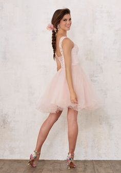 Another pretty dama dress  Lace and Tulle Damas Dress with Beading | Damas Style 9443 | Quinceanera Dresses by Morilee designed by Madeline Gardner. Beautiful Quinceañera Bridesmaids Dress Featuring a Lace Bodice and Full Tulle Skirt.