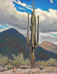 Saguaro, Tucson 1925 20 X 16 inches.  Image courtesy Maynard Dixon Museum and Medicine Man Gallery Tucson AZ