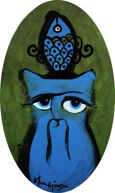 Blue cat & Blue fish.                                     Cattoman Empire.                                         Oil on Canvas - 25x65cm. Oval.