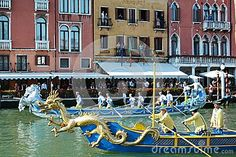 A huge golden dragon, detail of a luxurious gondola opens the Regata Storica event in Venice, Italy, Europe