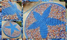 TAMBIÉN ... CROCHETO: tapiz alfombra Blue Star Trapilho