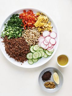 Rainbow red quinoa salad with BBQ'd corn