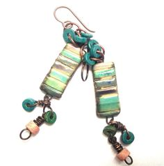 Multicolor Scorched Earth Banded Rectangles and by SheFliesAgain, $23.00