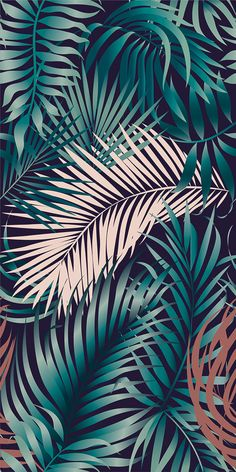 Domestic Jungle Decorate the walls with exotic prints and stylized textures with plant motifs that nod to the design. Leaves Wallpaper Iphone, Flower Phone Wallpaper, Plant Wallpaper, Tropical Wallpaper, Summer Wallpaper, Cute Wallpaper Backgrounds, Wallpaper Iphone Cute, Pretty Wallpapers, Colorful Wallpaper