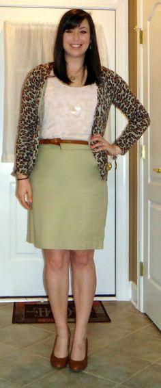 leopard print cardigan, khaki pencil skirt, pink tank, monogram necklace