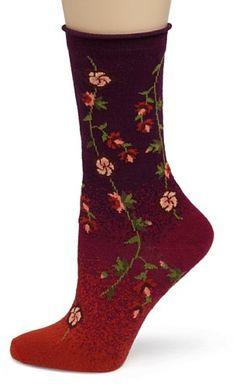 fd6db4c166482 Ozone Women's Tibetan Flowers Sock, Black, at Amazon Women's Clothing store:  Casual Socks