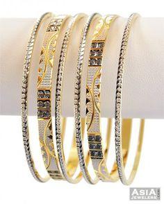 Designer Gray Rhodium Bangles - - gold bangles set pcs), beautifully designed with exclusive rhodium and gray rhodium based 2 t Gold Ring Designs, Gold Bangles Design, Gold Jewellery Design, Silver Wedding Jewelry, Gold Jewelry, Jewelery, Plain Gold Bangles, Bangle Set, Indian Wear