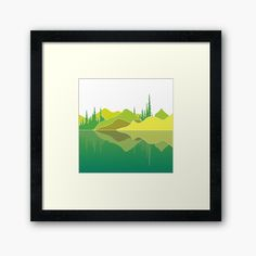 Illustration of a lake scene and a reflection. The artwork makes use of simple lines, a lime colour pallet and geometric pattern. Did you know that lakes are large bodies of water that are surrounded by land and are not part of an ocean?  #framedart #lakescene #murkywater #foresttrees #mountains #reflections #naturelover #geometricpattern #green #shades of lime #simplistic lines #aesthetic #minimalist #visco #tiktok Green Shades, Centerpiece Decorations, Simple Lines, Color Pallets, Custom Boxes, Vignettes, Lakes, Framed Art Prints, Bodies