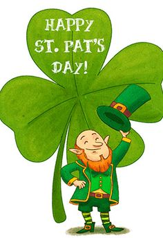 """""""Leprechaun and clover"""" printable card. Customize, add text and photos. print for free! #St. Patrick's day  #Card"""